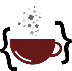 The coffee cup and coding logo mark for KatrinaMoody.com.