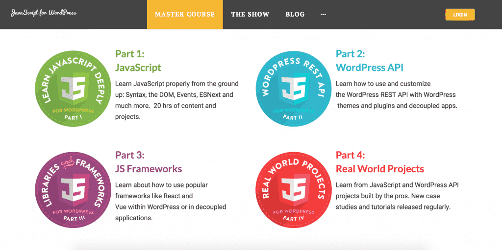 Screenshot showing the 4 modules of the JavaScript for WordPress Course